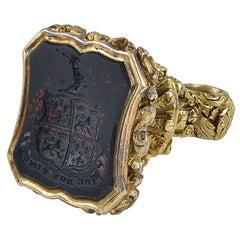 Antique Victorian 18 Karat Gold and Bloodstone Intaglio Fob Seal