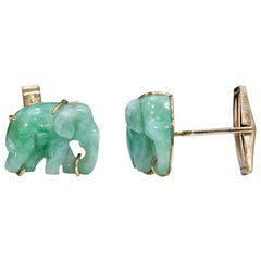 Pair of Vintage Carved Green Jade and Gold Elephant Cufflinks