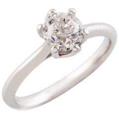 Kian Design White Gold 1.00 Carat Old European Cut Moissanite Engagement Ring