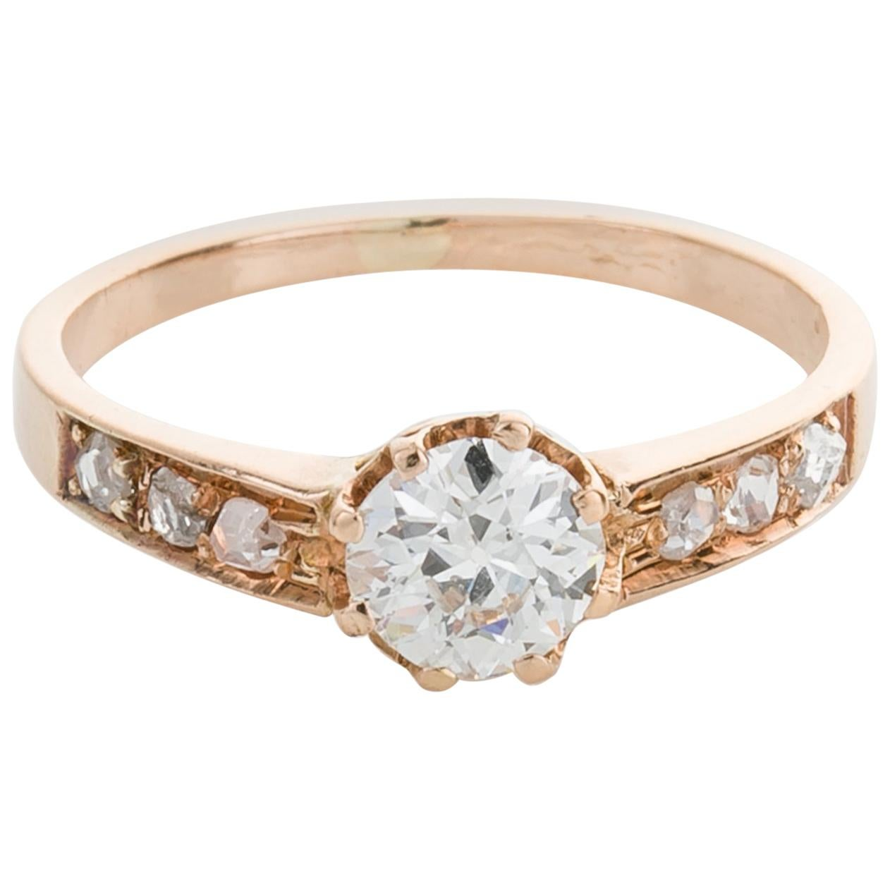 45f5dee8916a0 Antique 18k Gold Solitaire Rings - 1,099 For Sale at 1stdibs