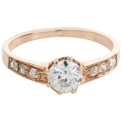 18 Karat Rose Gold Diamond Engagement Ring