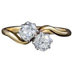 Antique Edwardian Old Cut Diamond Twist Ring 18 Carat Gold, circa 1910