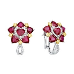 KAHN Ruby and Yellow Diamond Earring