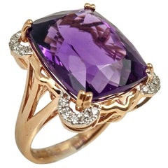 Amethyst 16.30 Carats, Rose Gold Cocktail Ring
