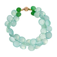 9 Carat Yellow Gold, Chalcedony and Chrysoprase Beaded 'Mint Julep' Bracelet