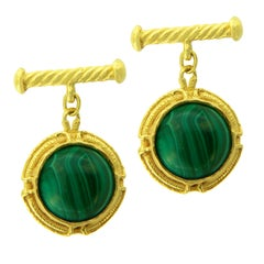 Sacchi Green Malachite Gemstone 18 Karat Satin Yellow Gold Round Chain Cufflinks
