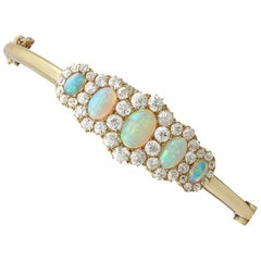 Antique Victorian 3.92 Ct Opal and 3.25 Ct Diamond Yellow Gold Bangle