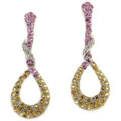 Sapphires 18 Karat White Gold Diamonds Drop Earrings