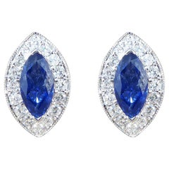 Marquise Cut Sapphire and Diamond Cluster Earrings in 18 Carat White Gold