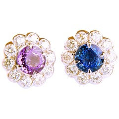 2.64ct Sapphire and 1.13ct Diamond Flower Shaped in 18K White Gold Earrings