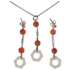 Art Deco 1930s Sterling Silver Rock Crystal Agate Earrings and Necklace Set