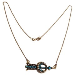 Victorian Gold Turquoise Pearl Arrow Target Crescent Necklace