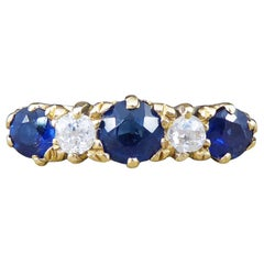 Antique Late Victorian Sapphire and Diamond Five-Stone Ring in 18 Carat Gold