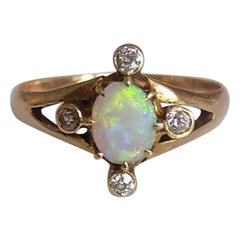 Victorian Gold Opal Diamond Ring