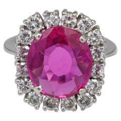 Magnificent 1950 6.50 Carat Ruby 1.60 Carat G VVS Diamond Solid Platinum Ring