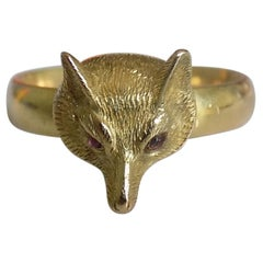Rare Victorian Gold Hunting Trophy Fox Head Ring