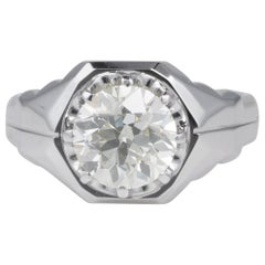Magnificent 3.10 Carat Old Brilliant Cut Diamond Solitaire Unisex Rare Ring