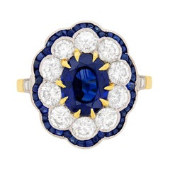 Late Deco Sapphire and Diamond Cluster Ring, circa 1940s