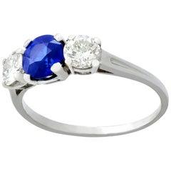 1950s Sapphire and Diamond Platinum Trilogy Ring