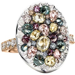 18K Rose & White Gold 2,795 Ct. Blue, Green, Purple, Pink Diamond Cocktail Ring