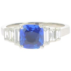 1.66 Certified No Heated Intense Blue Ceylon Sapphire Engagement Ring 750 Gold