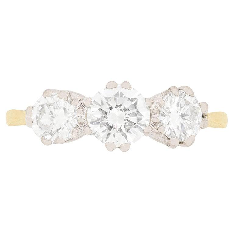Vintage 1.75 Carat Diamond Three-Stone Ring, circa 1960s