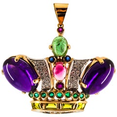 Diamond Ruby Emerald Sapphire Amethyst Tourmaline Yellow Gold Pendant Necklace