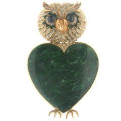 Malachite Owl 18 Karat Yellow Gold Diamonds Brooch