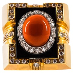 1.00 Carat White Diamond Mediterranean Red Coral Onyx Yellow Gold Cocktail Ring