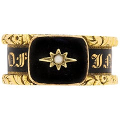 Georgian Mourning Ring with Black Enamel, circa 1824