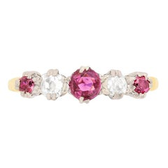 Edwardian Ruby and Diamond Five-Stone Ring, circa 1910