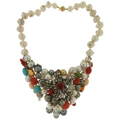 Pearls Coral Turquoise 14 Karat Yellow Gold Choker Necklace