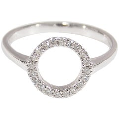 14 Karat Diamond Circle Ring White Gold Thin Band Halo