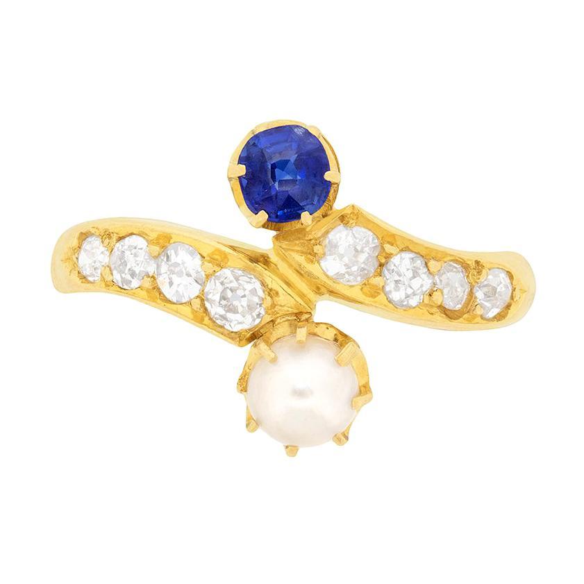 Victorian Sapphire, Pearl and Diamond Twist Ring, circa 1900s