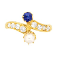 Victorian Sapphire, Pearl and Diamond Twist Ring, circa 1900s