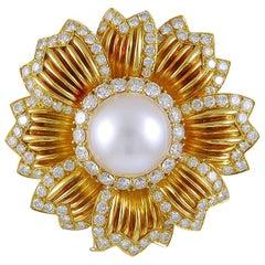 Van Cleef & Arpels Diamond and Pearl Flower Brooch