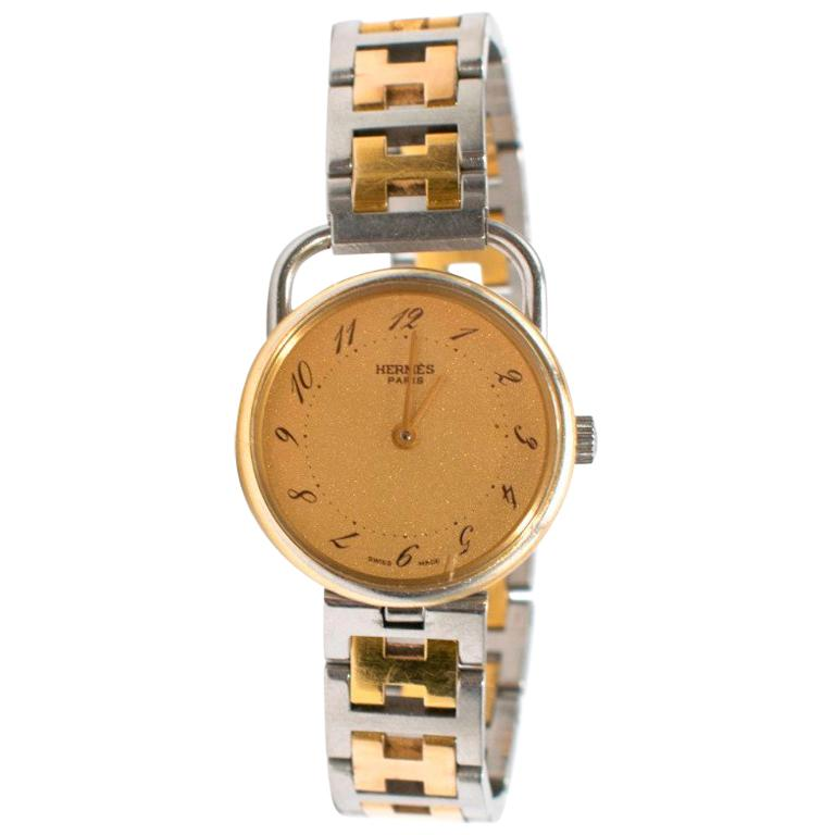 4d886c9b15a Hermes Arceau Gold-Plated Steel Two-Tone Watch at 1stdibs