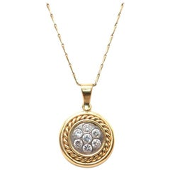 Bespoke Diamond Gold Circle Pendant Necklace