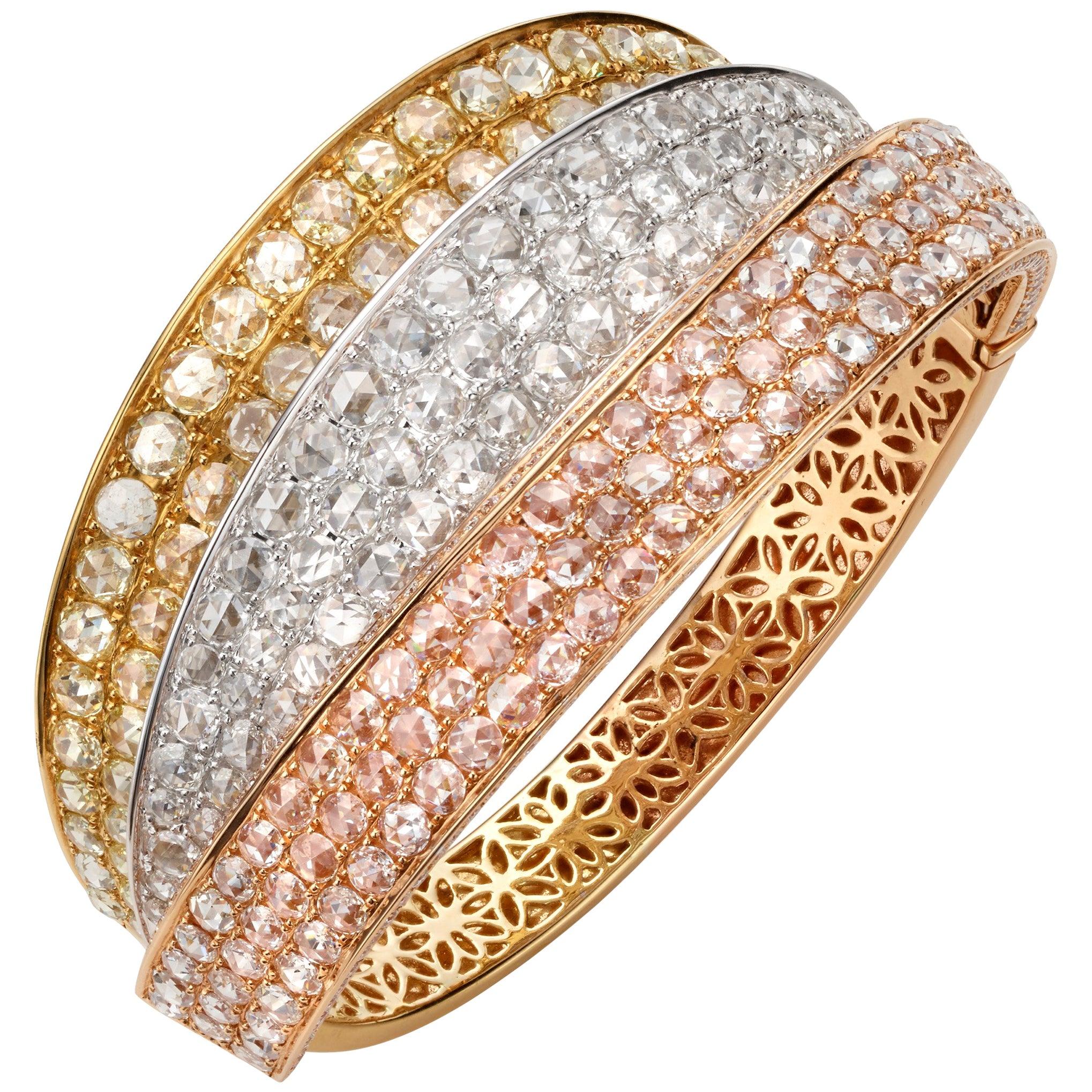 18.30 Carat Rose Cut Round Diamond 18 Karat Tricolor Gold Cuff Bangle