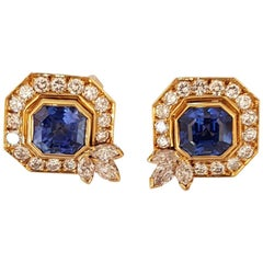 Diamonds and Sapphire Clip Earrings