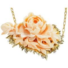 18 Karat Japanese Vintage Carved Coral Diamond Necklace, circa 1956