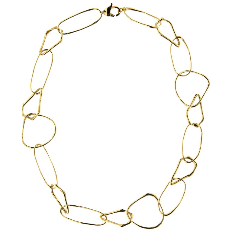 Jona Freeform 18 Karat Yellow Gold Link Necklace For Sale