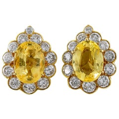 Van Cleef & Arpels Diamond, Yellow Sapphire Ear Clips