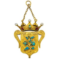 Antique Forget Me Not Vinaigrette Crown Pearl Emerald Ruby Gold Locket Pendant