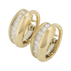 Cartier Yellow Gold Bombe Diamond Earrings 1.44 Carat