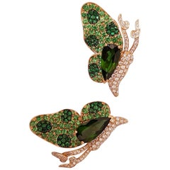 Florence Tourmaline and Tzavorite Butterfly Earrings