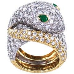 Diamond Emerald Vintage Snake Ring 18 Karat Yellow Gold Platinum