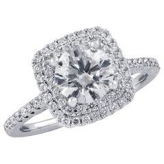 Vivid Diamonds GIA Certified 1.27 Carat Diamond Halo Engagement Ring