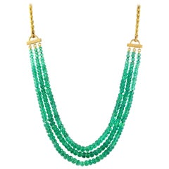 Julius Cohen 24 Karat Gold and Emerald Bead Necklace
