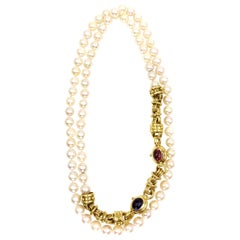 Long Cultured Pearl Necklace with Detachable 18 Karat Gemstone Bracelet